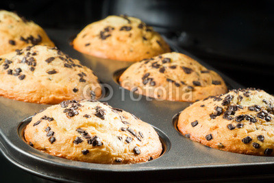 Muffin with chocolate chip in baking tray