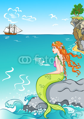 beautiful mermaid sitting on a rock, watching the ship